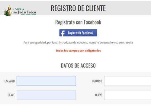 Registro con Facebook